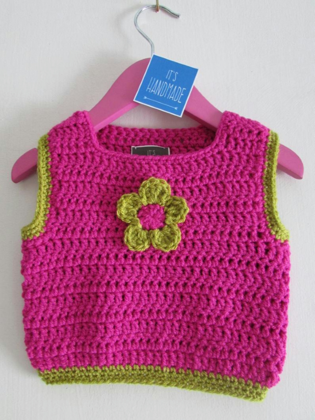 Crochet girls vest with lovely flower detail. Age 3-4 years old