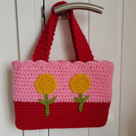 Crochet girls bag fully lined. Flowers