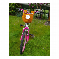 Crochet bicycle basket with lovely flower detail, bag.  Free postage to UK
