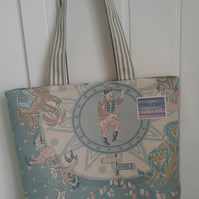 Tote bag with circus print fabric.Free postage