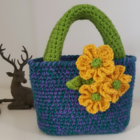 Crochet toddler tote, flower girl bag, free postage
