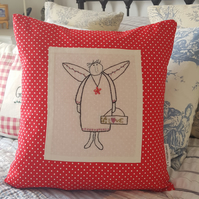 Cushion embroidered primitive angel