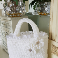 Crochet toddler tote, flower girl bag