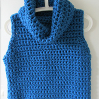 Ladies crochet rolled or unrolled cowl vest, size small to medium, free postage