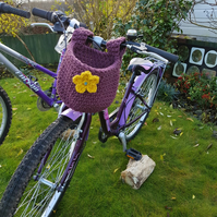 Crochet bicycle basket with flower detail. Bicycles, baskets, free postage to UK