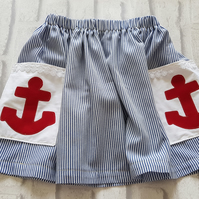 Girls skirt with nautical theme. Age 5-6 years. Free delivery