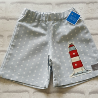 Unisex shorts with lighthouse applique. 18-24mth age