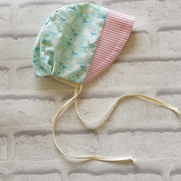 Baby bonnet, baby gift, baby Christening  summer hat. Age 3-6 months