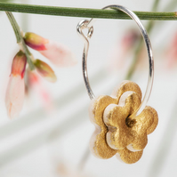 Porcelain Double Blossom Hoop Earrings - gold