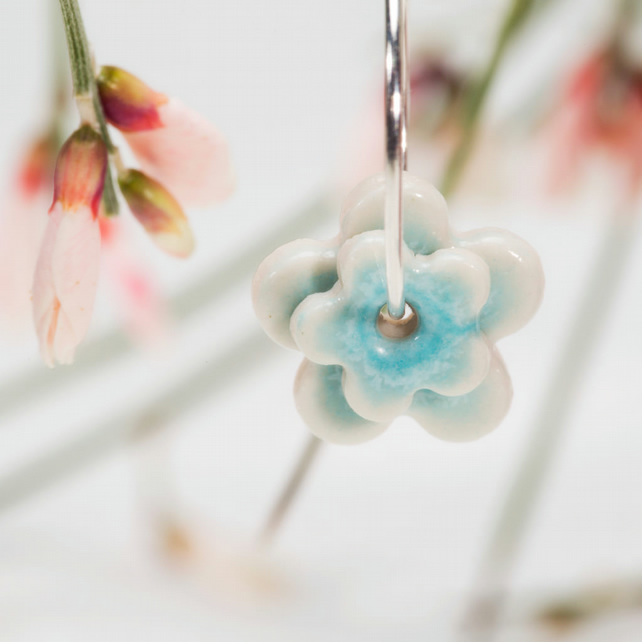 Porcelain double blossom earrings - turquoise