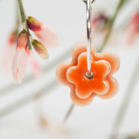 Porcelain Double Blossom Earrings - orange
