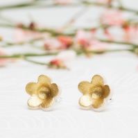 Porcelain Blossom Stud Earrings - gold