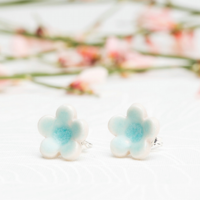 Porcelain Blossom Stud Earrings - turquoise