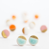 Porcelain Round Turquoise Stud Earrings