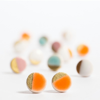 Porcelain Round Orange Stud Earrings