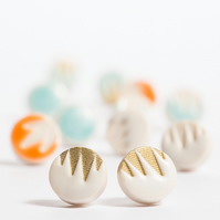 Porcelain Patterned White & Gold Stud Earrings