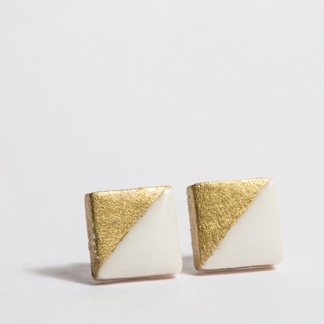 Porcelain Small Square White Stud Earrings
