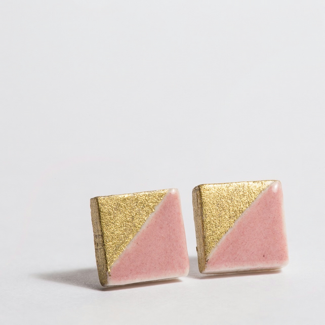 Porcelain Square Pink Stud Earrings