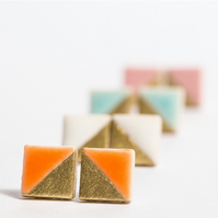 Porcelain Square Orange Stud Earrings