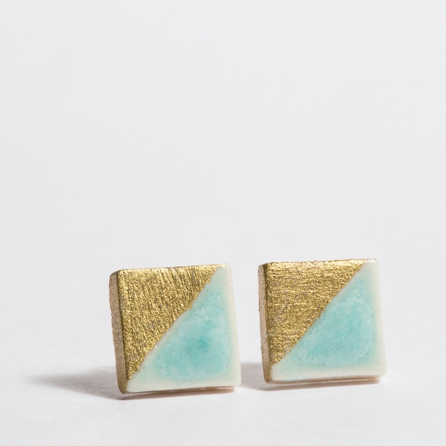 Porcelain Square Turquoise Stud Earrings