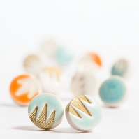 Porcelain Patterned Turquoise & Gold Stud Earrings