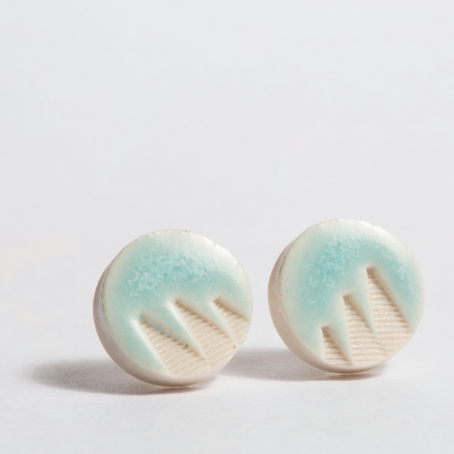 Porcelain Patterned Turquoise Stud Earrings