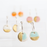 Porcelain Round Turquoise & Gold Hoop Earrings