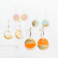 Porcelain Round Orange & Gold Hoop Earrings