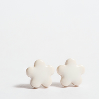 Small White Flower Porcelain Earrings