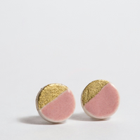 Porcelain Round Dusty Rose Stud Earrings