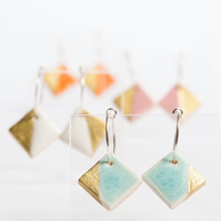 Porcelain Square Turquoise Hoop Earrings