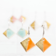 Porcelain Square Orange Hoop Earrings