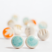 Porcelain Turquoise Stud Earrings