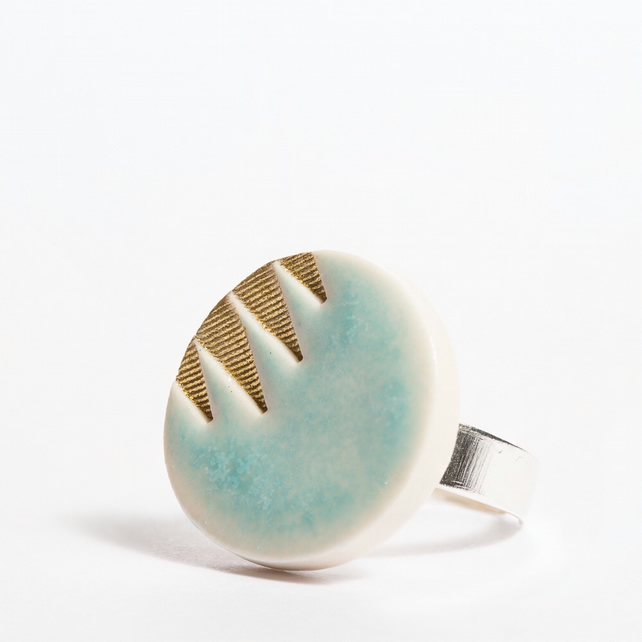 Porcelain Pattern Turquoise & Gold Dress Ring