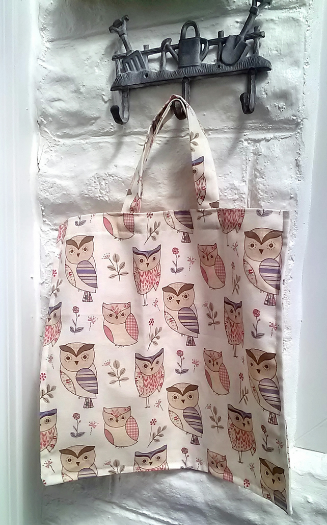 Owl Shopping Bag, Reusable Cotton Canvas Market Bag