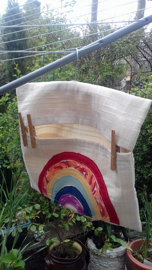 Rainbow Peg Bag, Cream Cotton Peg Bag