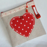 Cosmetics Bag, Purse, Pouch, Heart Purse, Valentine gift