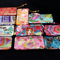 "Hand made 5"" cotton zipped change purse"