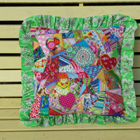 Hand made crazy patchwork cushion cover approx 16""