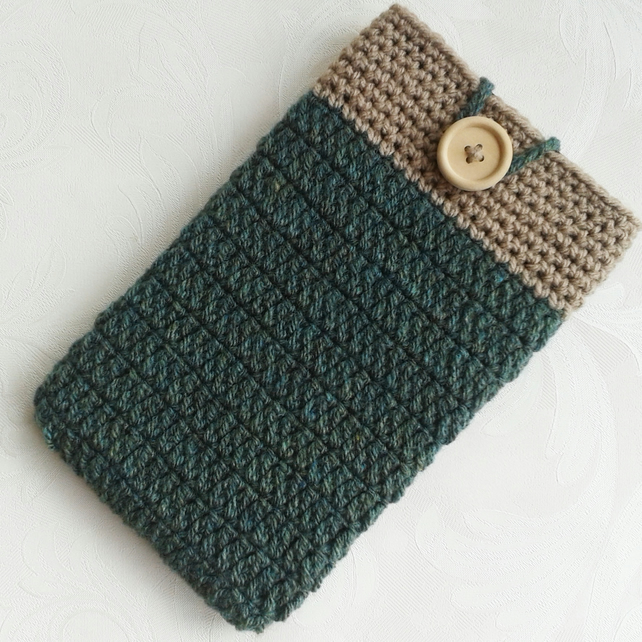 Green & brown 7.5 inch tablet sleeve, cover, gifts for him, fathers day gift