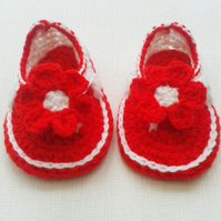 0-6 Months, Baby girl, red, white, flower, baby sandals, baby accessory, summer