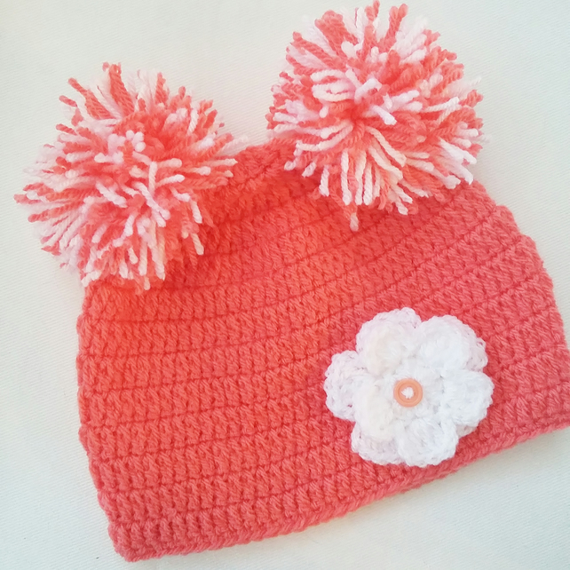 Baby girl 1-2 years coral double pom pom flower hat, great gift or photo prop!