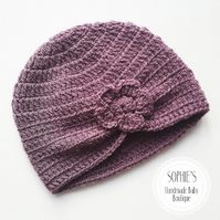 Baby girl hat, crochet newborn hat, purple newborn hat, baby shower gift,