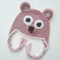 3-6 month pink baby bear winter hat, photo prop and gift!