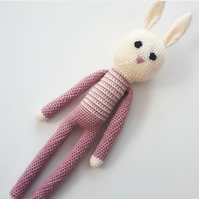 Crochet rabbit, Nordic decor, pink rabbit, amigurumi, gifts for girls