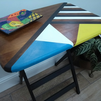 Mid-Century Modern Table 1960s Geometric Design Upcycled with Chalk Paints