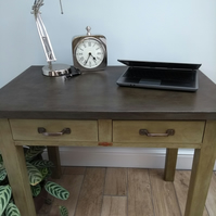 Renovated Industrial Office Computer Desk Upcycled with Chalk Paints