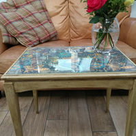 Renovated Upcycled Glass Top Occasional Table Painted in Chalk Paints