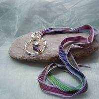 Handmade Wirework pendant with Amethyst chips & Tierracast bead & silk ribbon