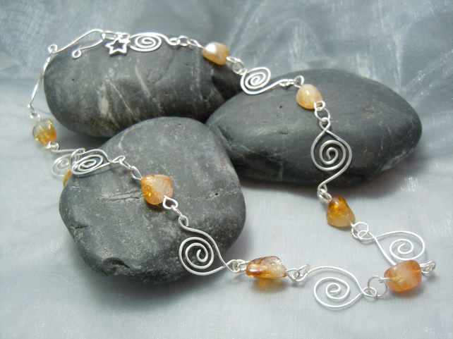 Handmade Celtic silver spiral  Necklace with Citrine gemstones